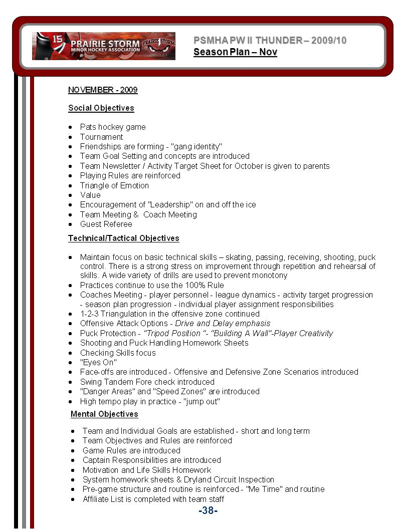 PSMHA PW II THUNDER – 2009/10 Season Plan – Nov -38-