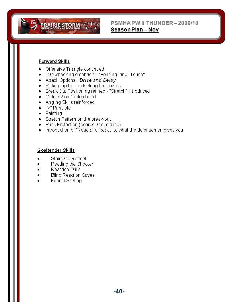 PSMHA PW II THUNDER – 2009/10 Season Plan – Nov -40-