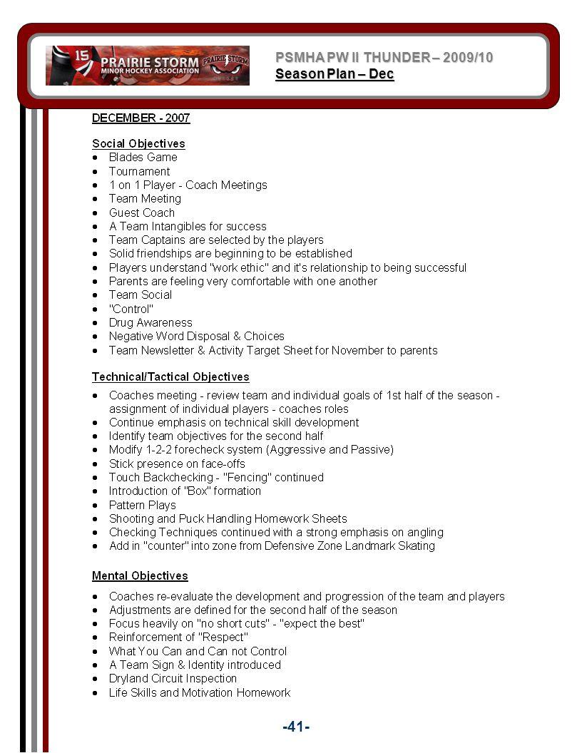 PSMHA PW II THUNDER – 2009/10 Season Plan – Dec -41-