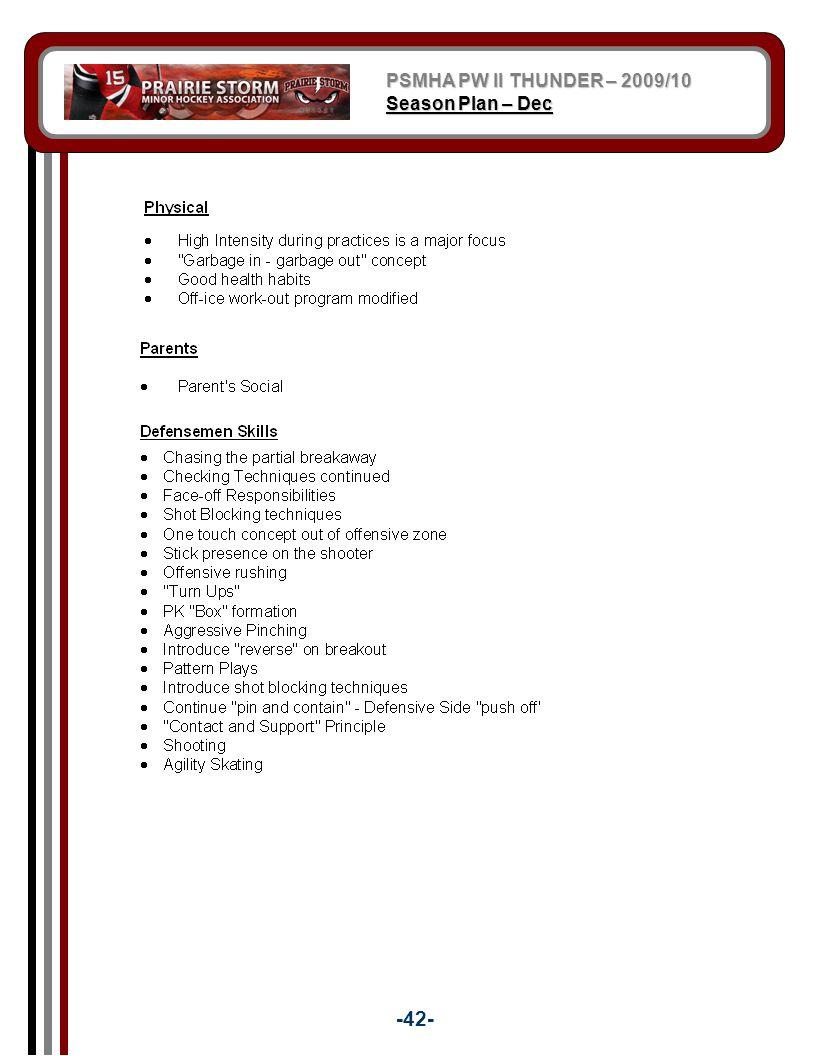 PSMHA PW II THUNDER – 2009/10 Season Plan – Dec -42-