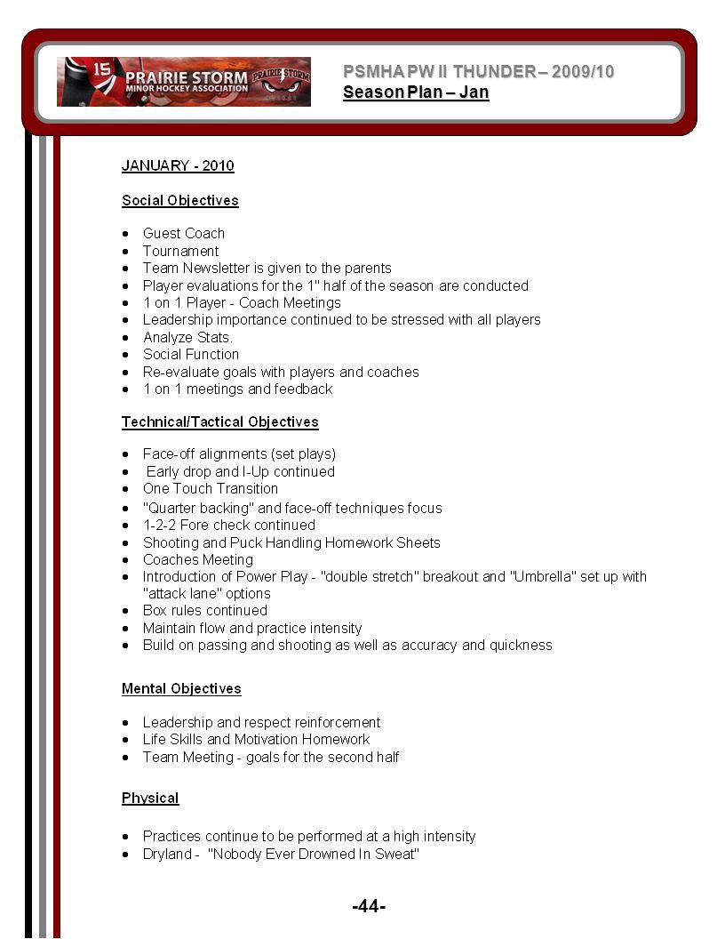 PSMHA PW II THUNDER – 2009/10 Season Plan – Jan -44-