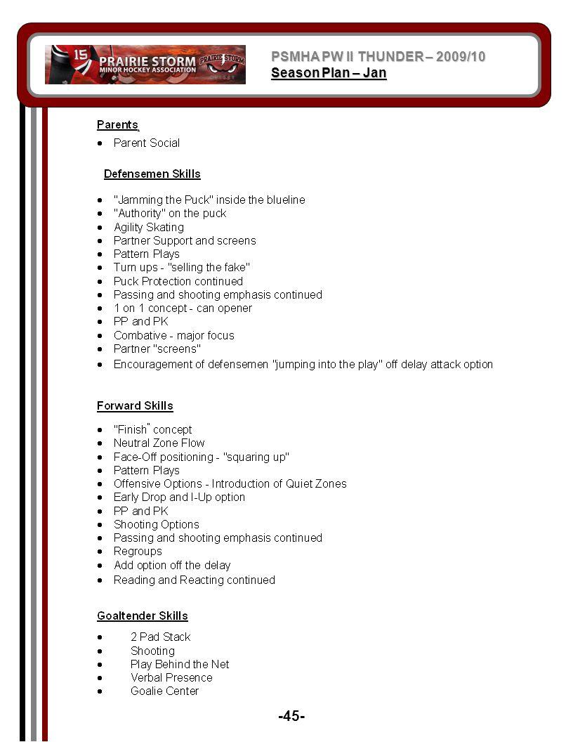PSMHA PW II THUNDER – 2009/10 Season Plan – Jan -45-