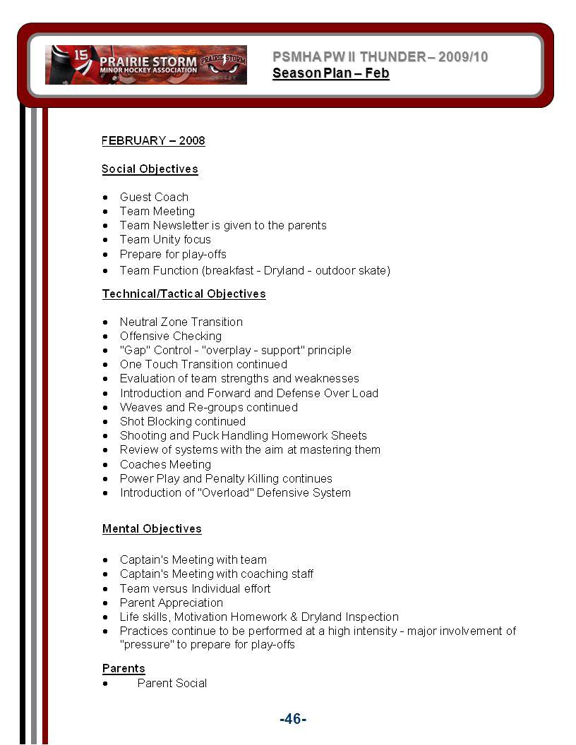 PSMHA PW II THUNDER – 2009/10 Season Plan – Feb -46-