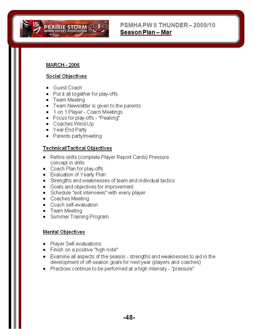 PSMHA PW II THUNDER – 2009/10 Season Plan – Mar -48-