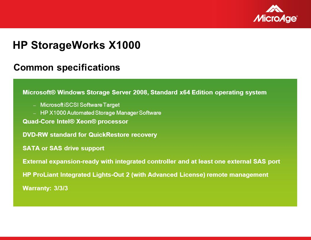 HP StorageWorks X1000 Common specifications