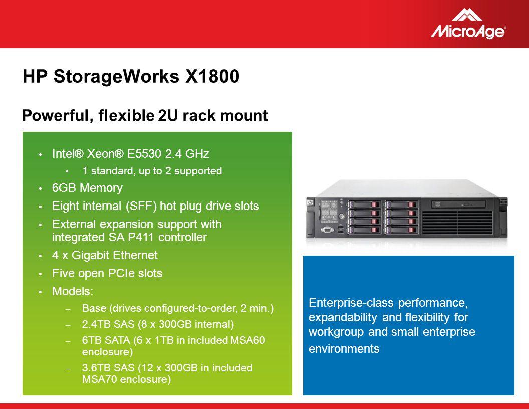 HP StorageWorks X1800 Powerful, flexible 2U rack mount