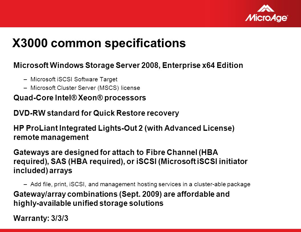 X3000 common specifications