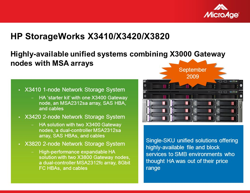 HP StorageWorks X3410/X3420/X3820 Highly-available unified systems combining X3000 Gateway nodes with MSA arrays.