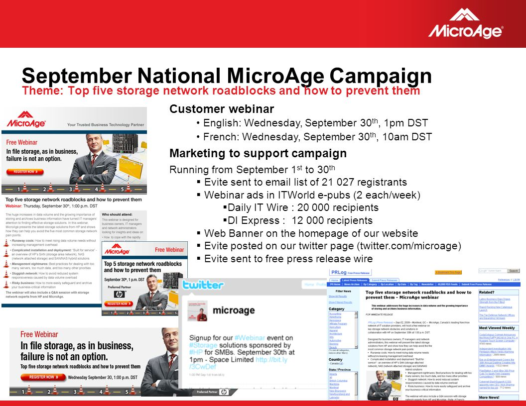 September National MicroAge Campaign Theme: Top five storage network roadblocks and how to prevent them