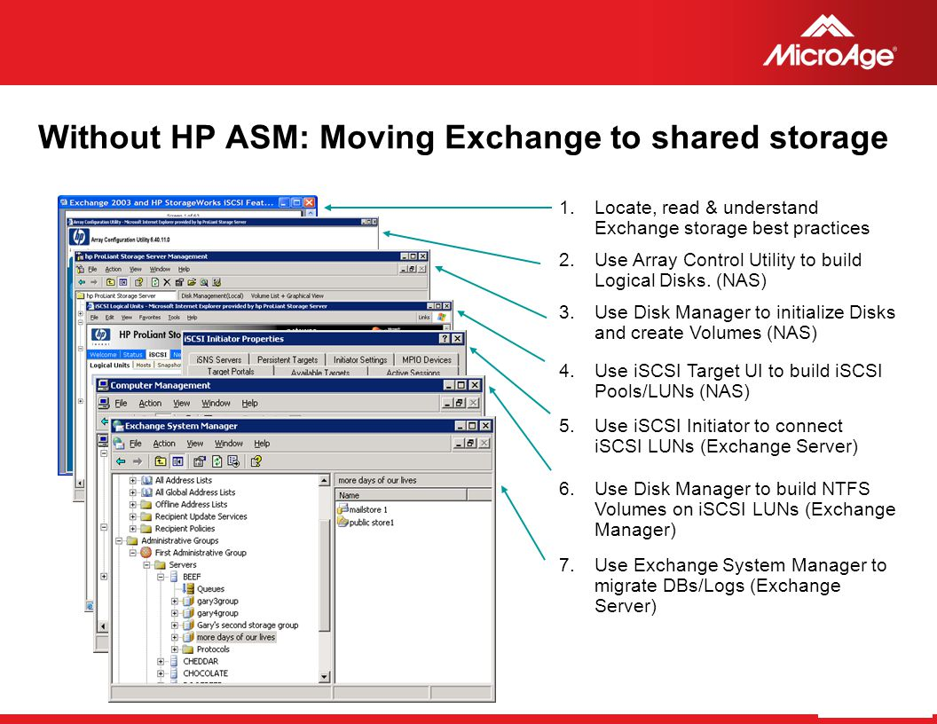 Without HP ASM: Moving Exchange to shared storage