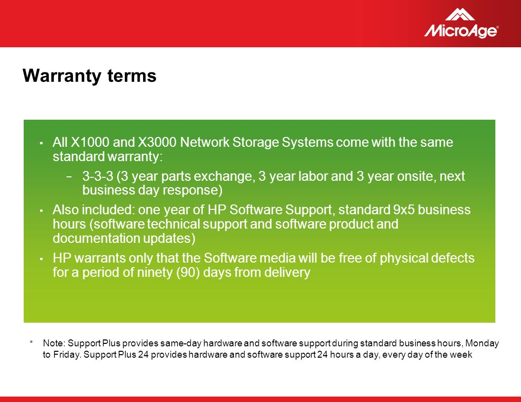 Warranty terms All X1000 and X3000 Network Storage Systems come with the same standard warranty: