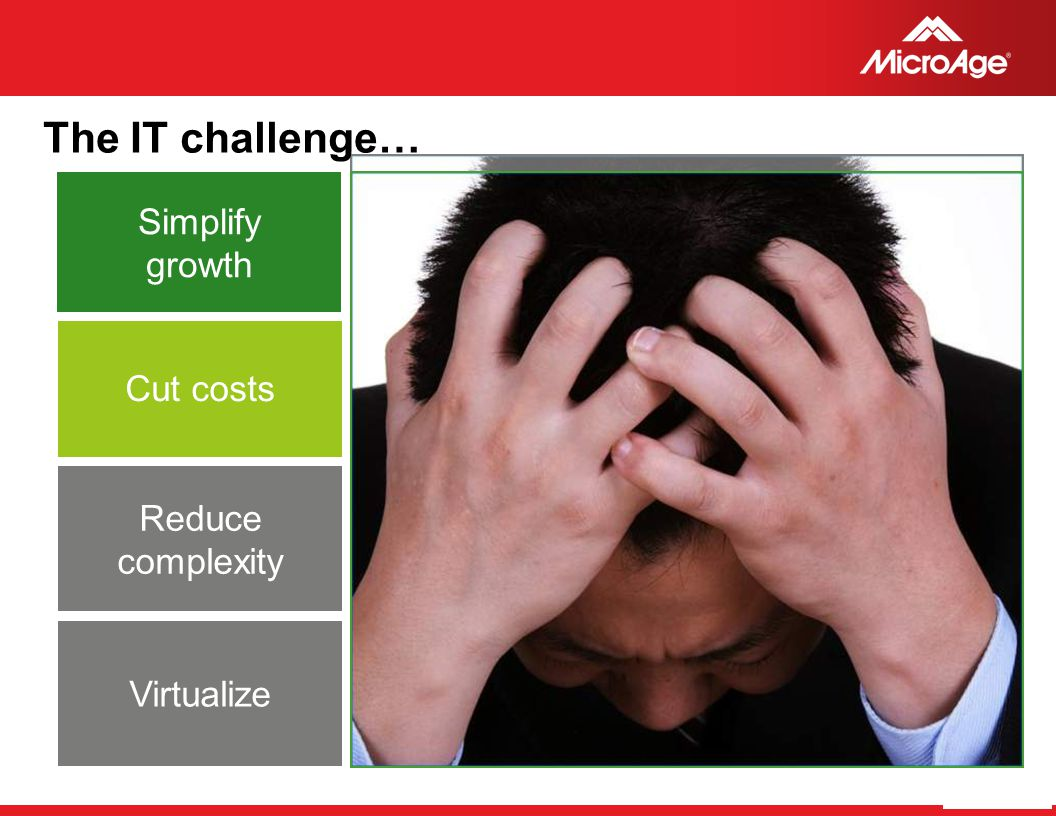 The IT challenge… Simplify growth Cut costs Reduce complexity