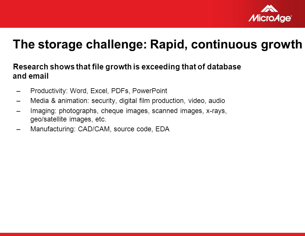 The storage challenge: Rapid, continuous growth