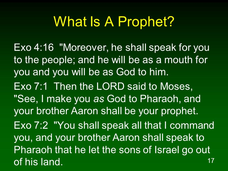What Is A Prophet Exo 4:16 Moreover, he shall speak for you to the people; and he will be as a mouth for you and you will be as God to him.