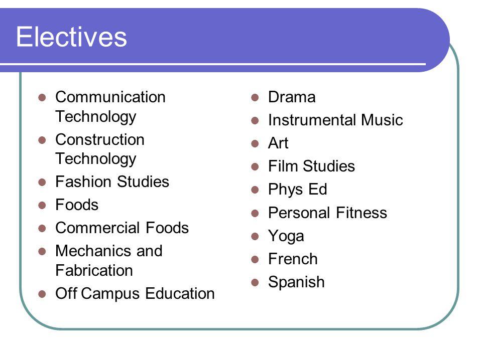 Electives Communication Technology Construction Technology