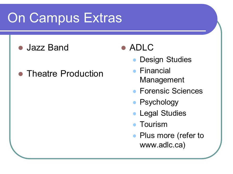 On Campus Extras Jazz Band Theatre Production ADLC Design Studies