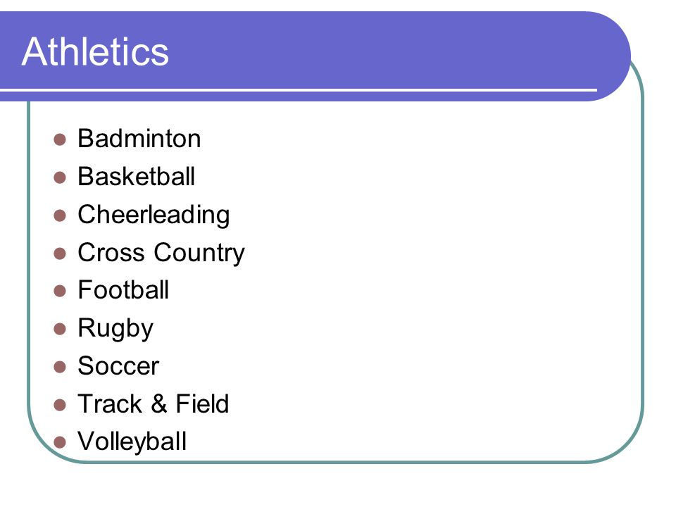 Athletics Badminton Basketball Cheerleading Cross Country Football