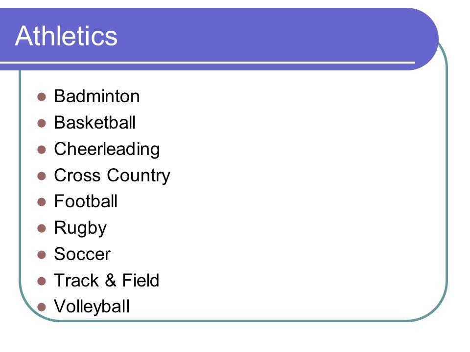 Athletics Badminton Basketball Cheerleading Cross Country Football