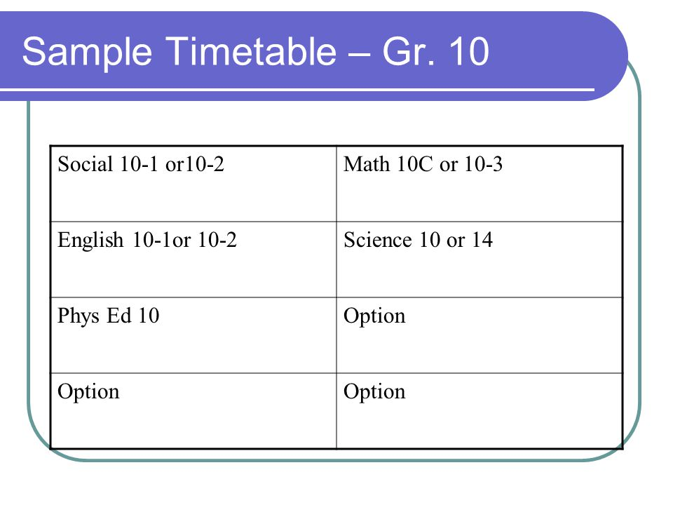 Sample Timetable – Gr. 10 Social 10-1 or10-2 Math 10C or 10-3