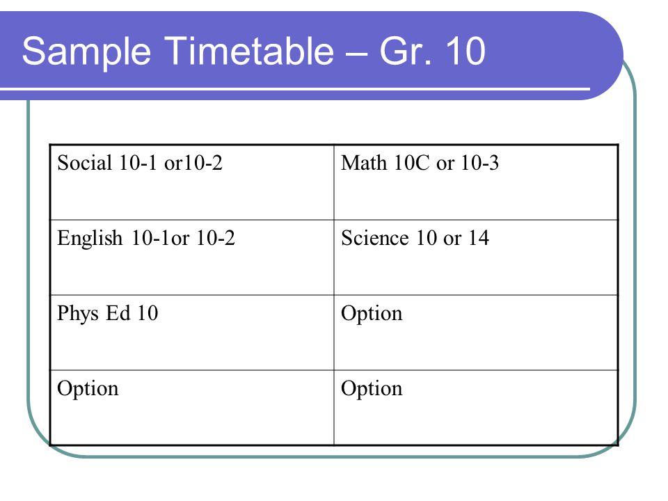 Sample Timetable – Gr. 10 Social 10-1 or10-2 Math 10C or 10-3