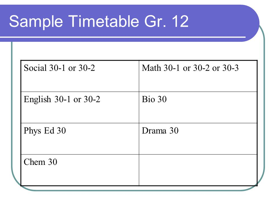 Sample Timetable Gr. 12 Social 30-1 or 30-2 Math 30-1 or 30-2 or 30-3