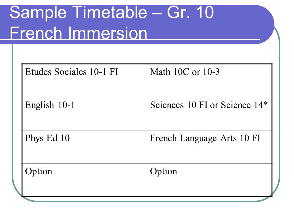 Sample Timetable – Gr. 10 French Immersion