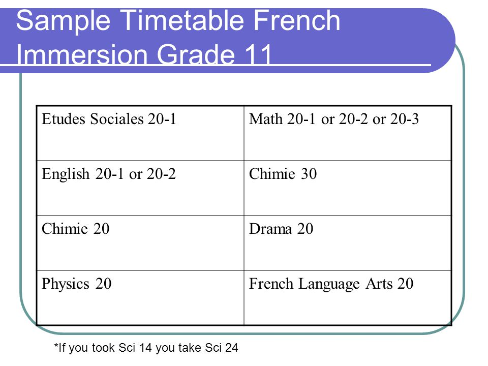 Sample Timetable French Immersion Grade 11