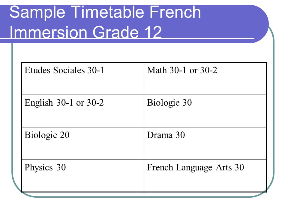Sample Timetable French Immersion Grade 12