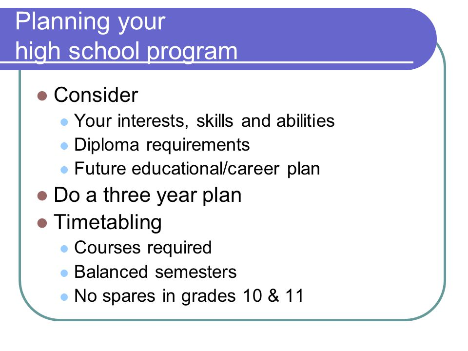 Planning your high school program