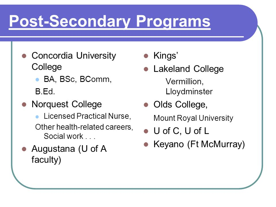 Post-Secondary Programs