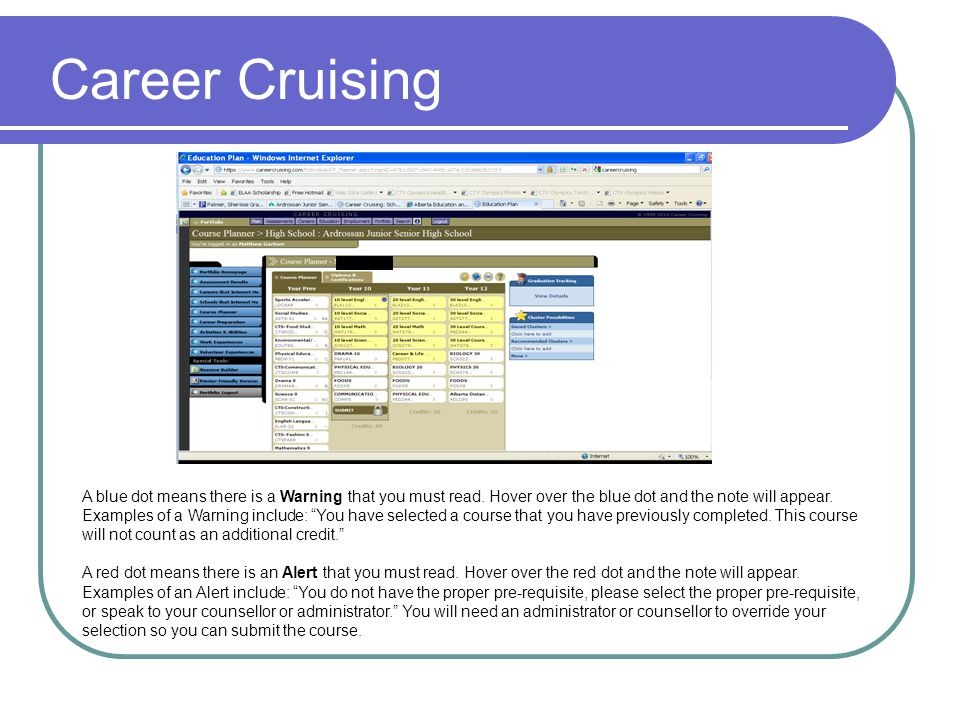 Career Cruising A blue dot means there is a Warning that you must read. Hover over the blue dot and the note will appear.