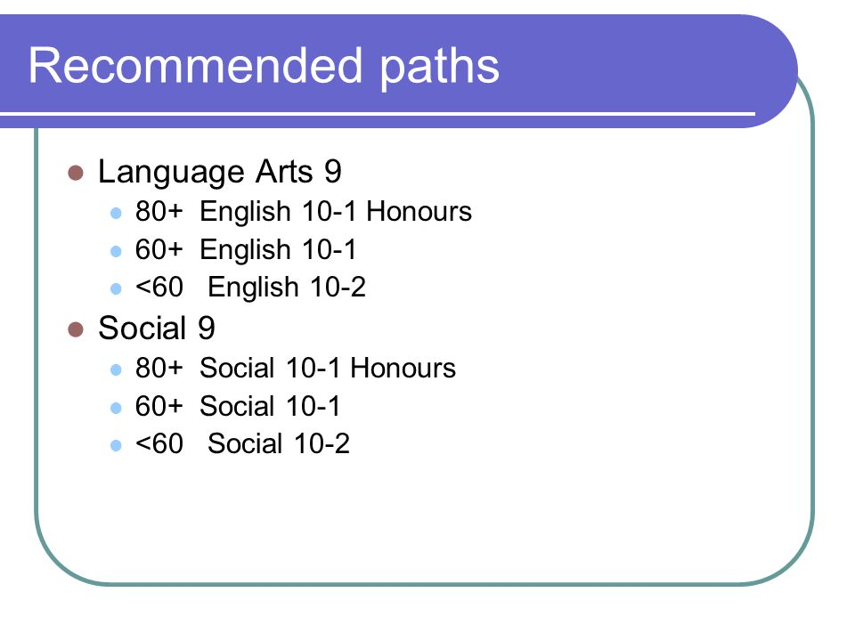 Recommended paths Language Arts 9 Social 9 80+ English 10-1 Honours