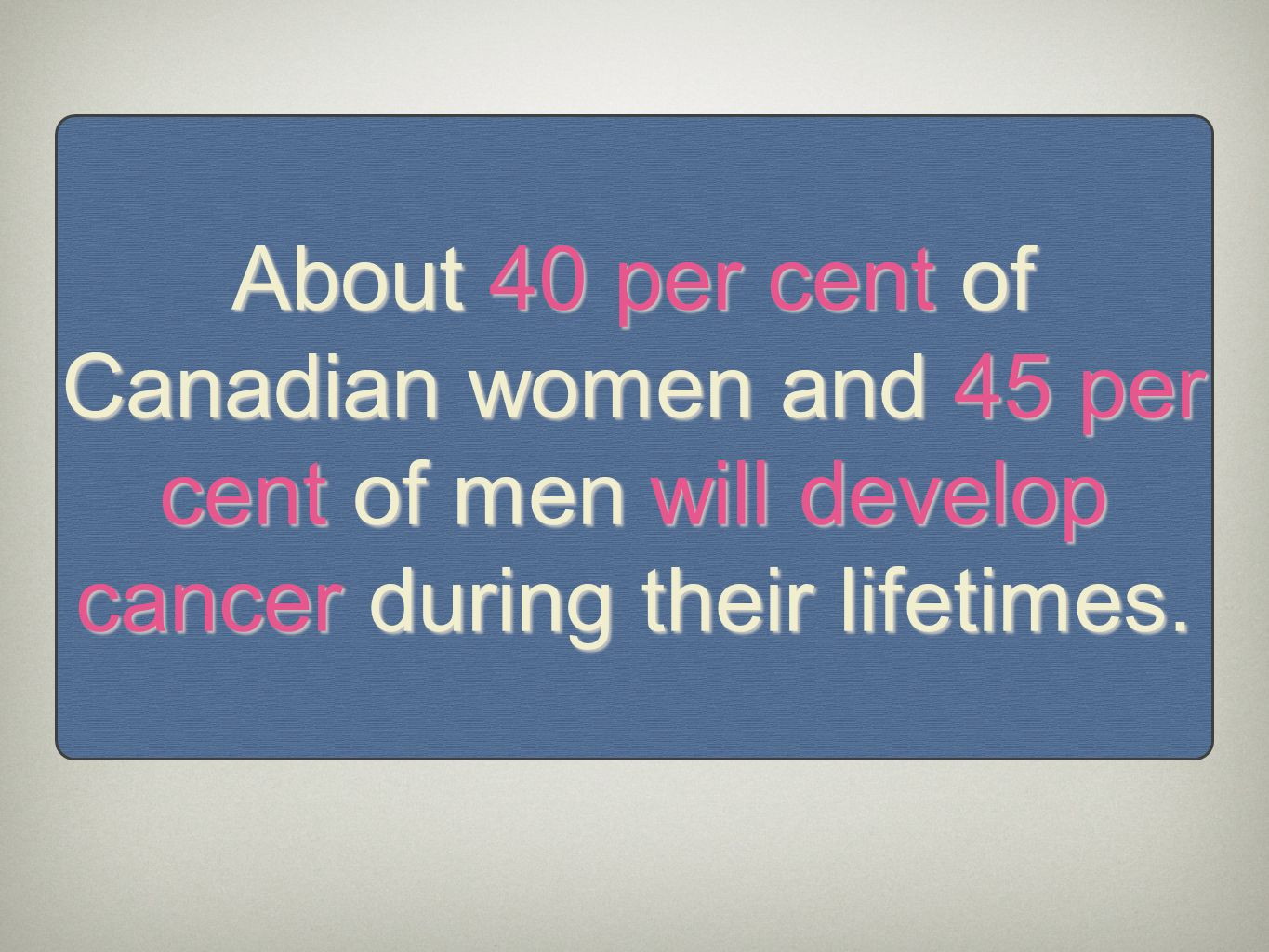 About 40 per cent of Canadian women and 45 per cent of men will develop cancer during their lifetimes.
