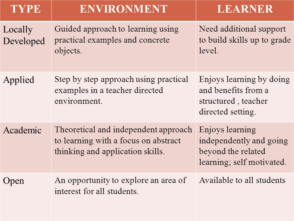 TYPE ENVIRONMENT LEARNER