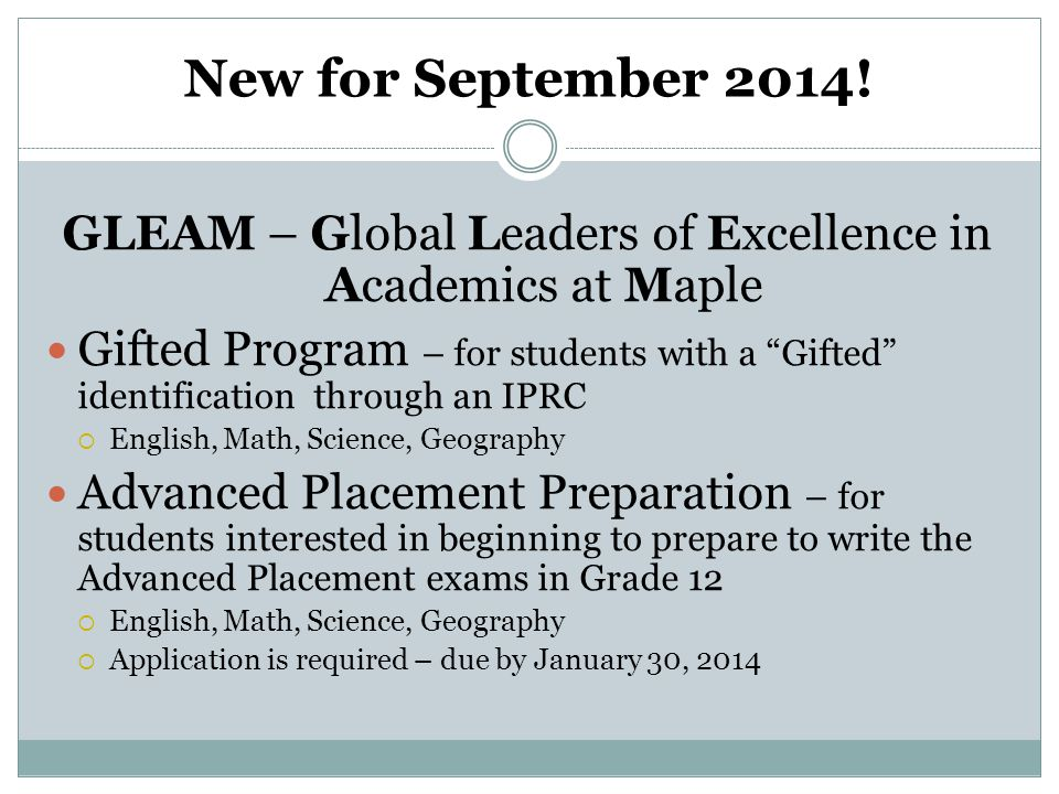 GLEAM – Global Leaders of Excellence in Academics at Maple