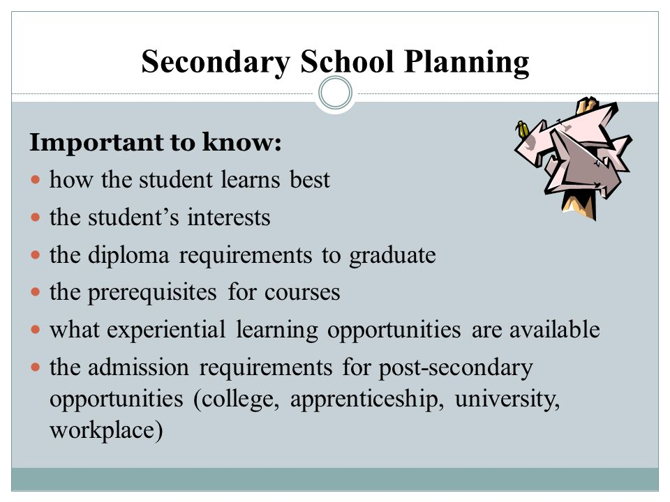 Secondary School Planning