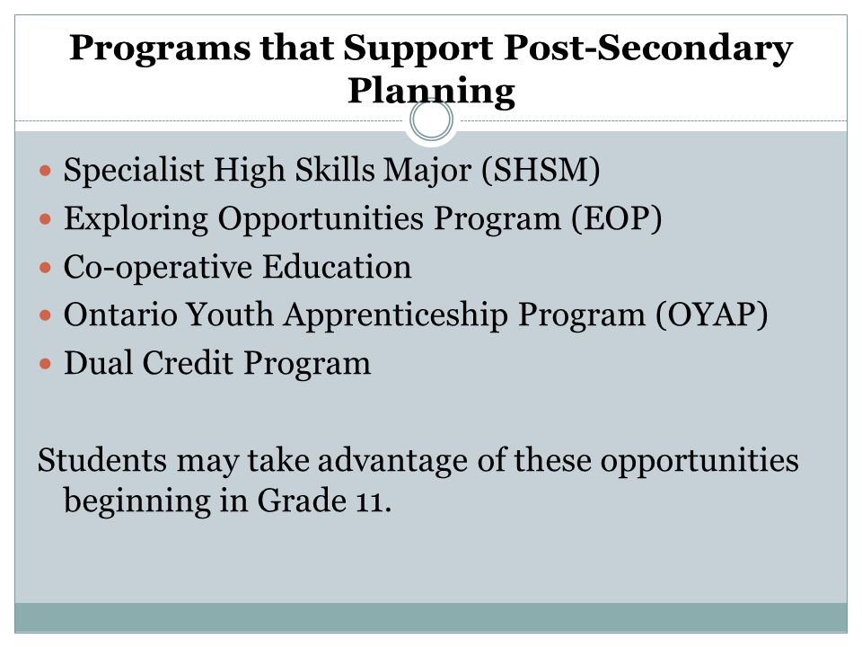 Programs that Support Post-Secondary Planning