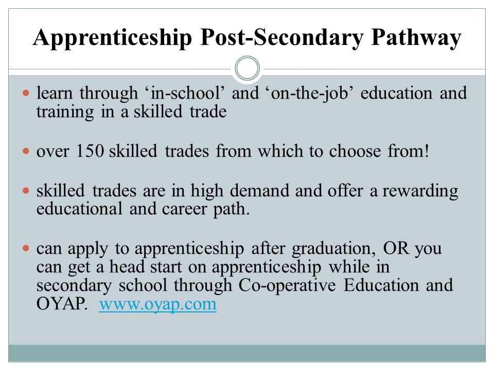 Apprenticeship Post-Secondary Pathway