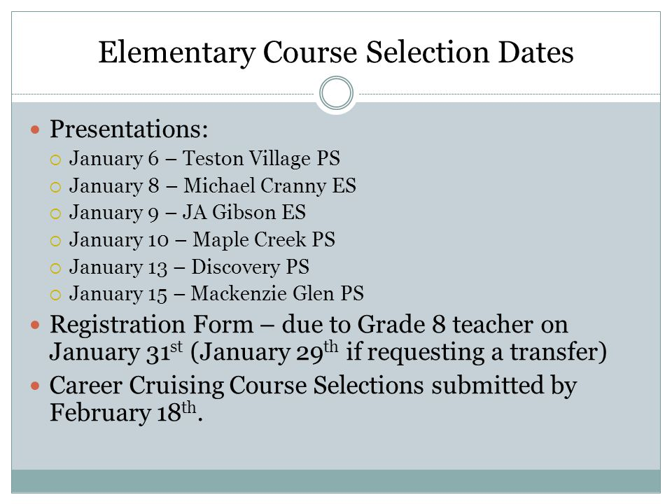 Elementary Course Selection Dates
