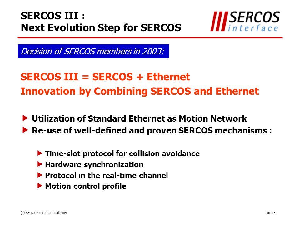 SERCOS III : Next Evolution Step for SERCOS