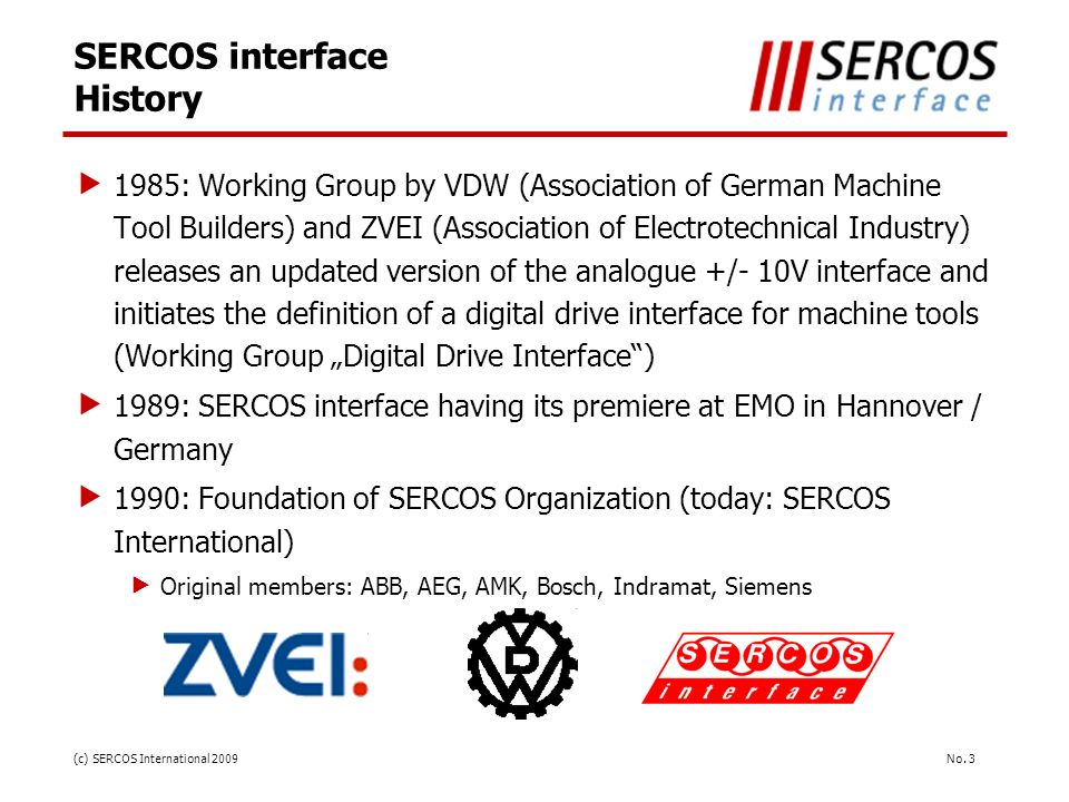 SERCOS interface History