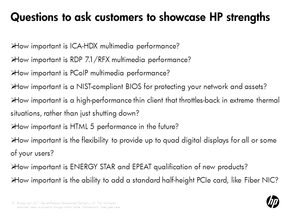 Questions to ask customers to showcase HP strengths