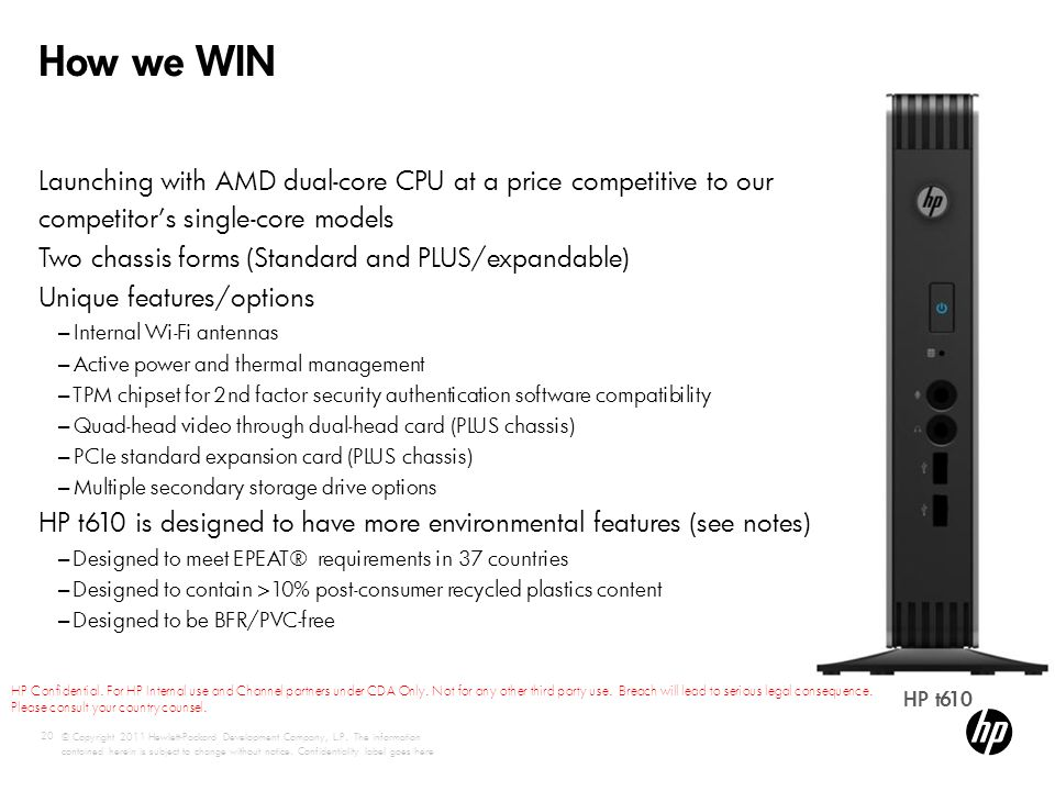 How we WIN Launching with AMD dual-core CPU at a price competitive to our competitor's single-core models.