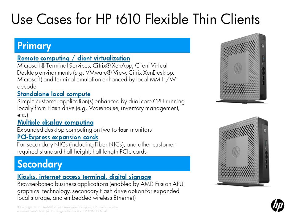 Use Cases for HP t610 Flexible Thin Clients