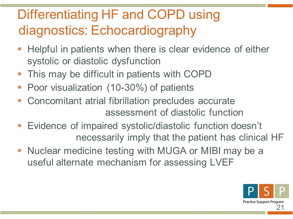 Differentiating HF and COPD using diagnostics: Echocardiography