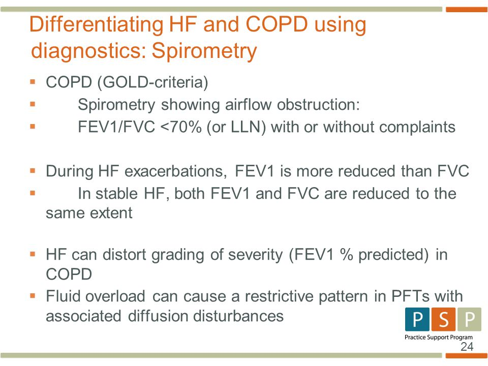 Differentiating HF and COPD using diagnostics: Spirometry