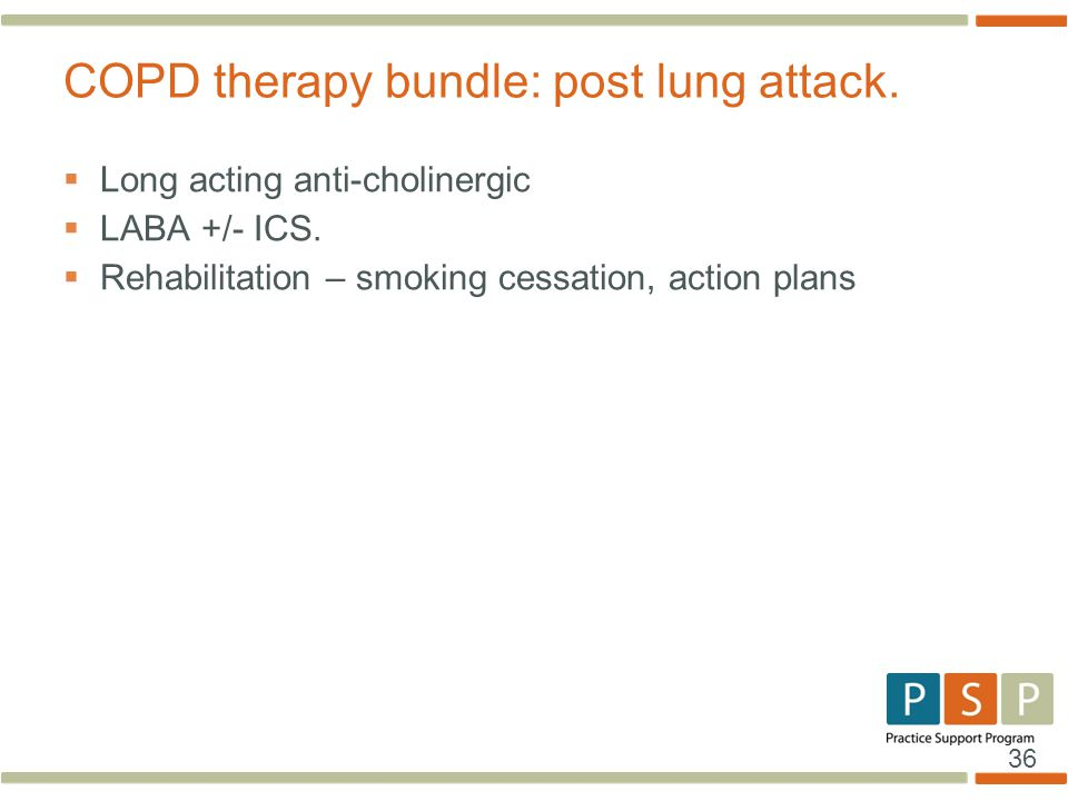 COPD therapy bundle: post lung attack.