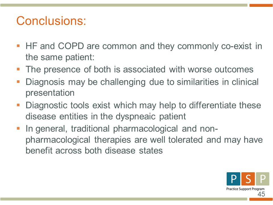 Conclusions: HF and COPD are common and they commonly co-exist in the same patient: The presence of both is associated with worse outcomes.