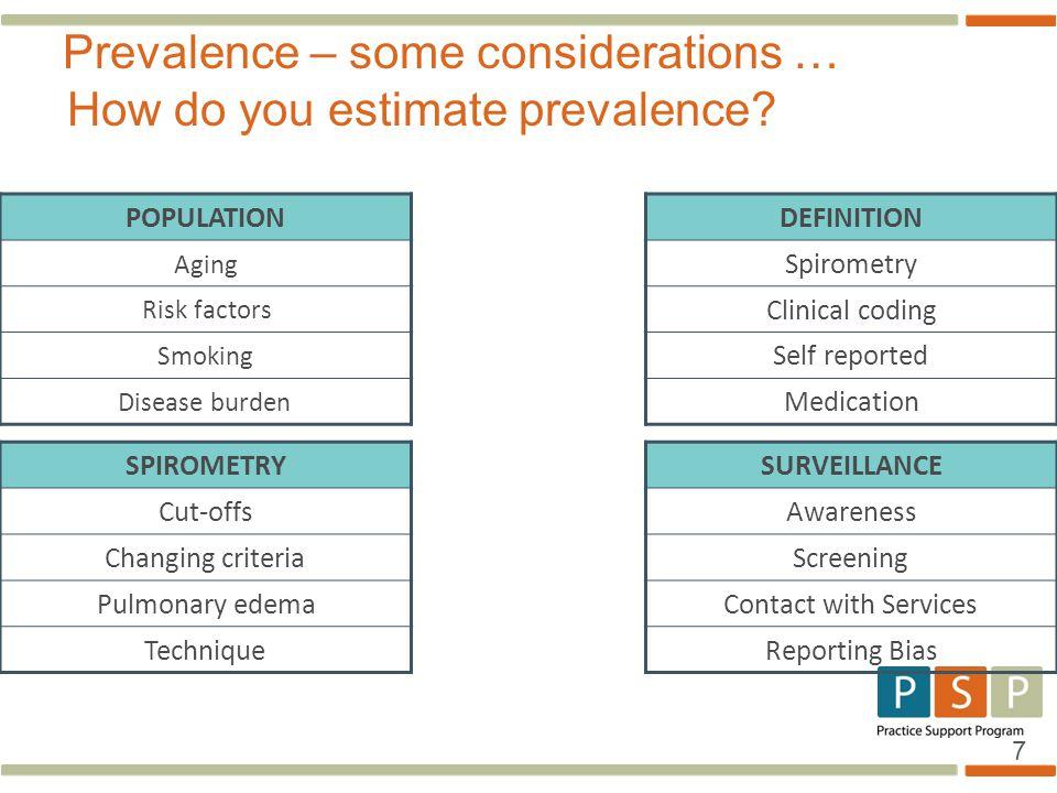 Prevalence – some considerations … How do you estimate prevalence