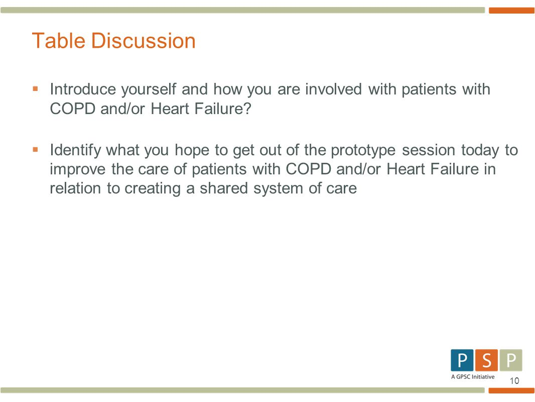 Table Discussion Introduce yourself and how you are involved with patients with COPD and/or Heart Failure